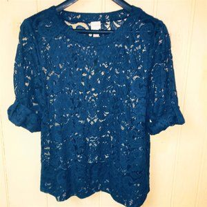 NEW Chico's (3) Sz 16 Roll Tab Open Lace TUNIC TOP